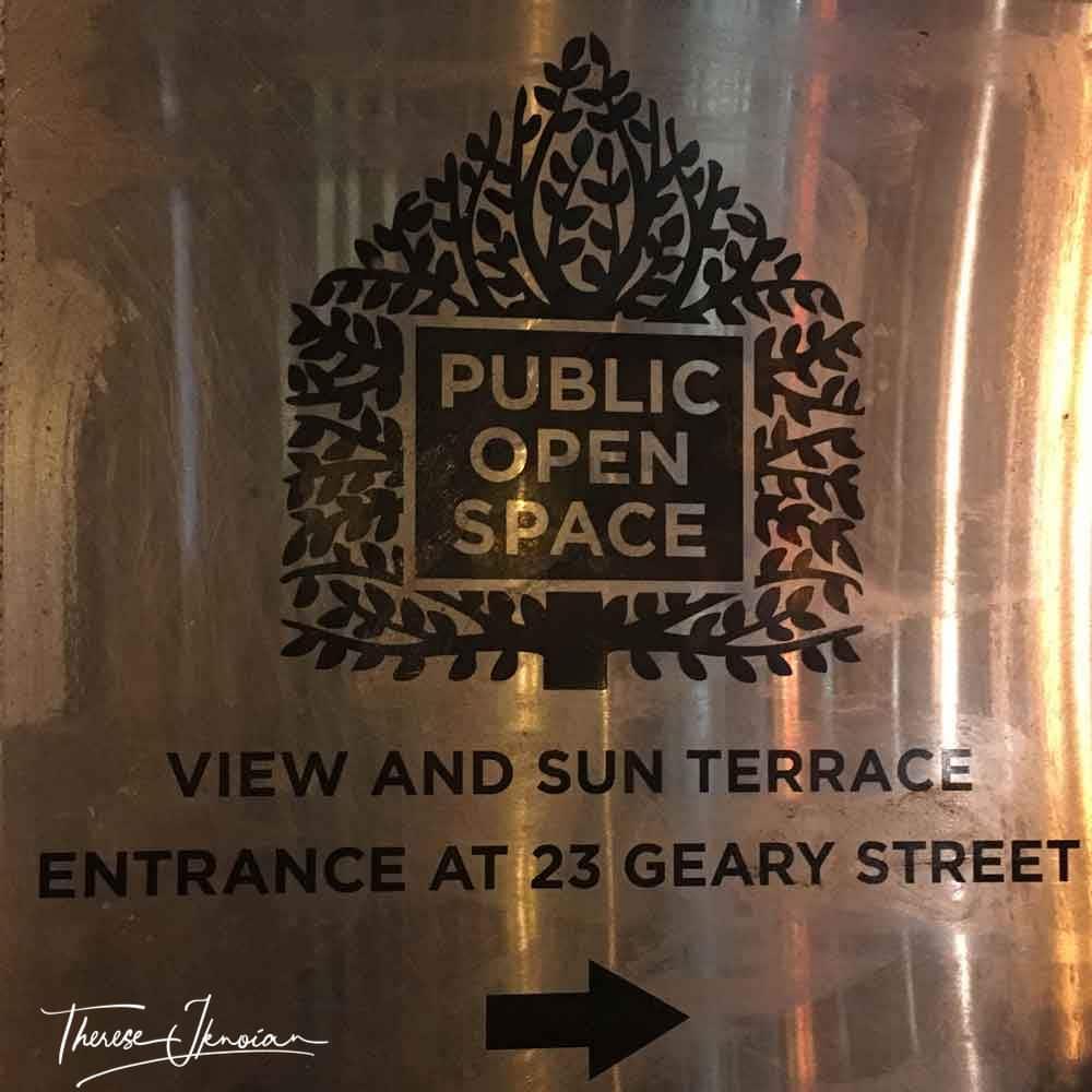 San Francisco Public Open Space sign marking a secret garden or park