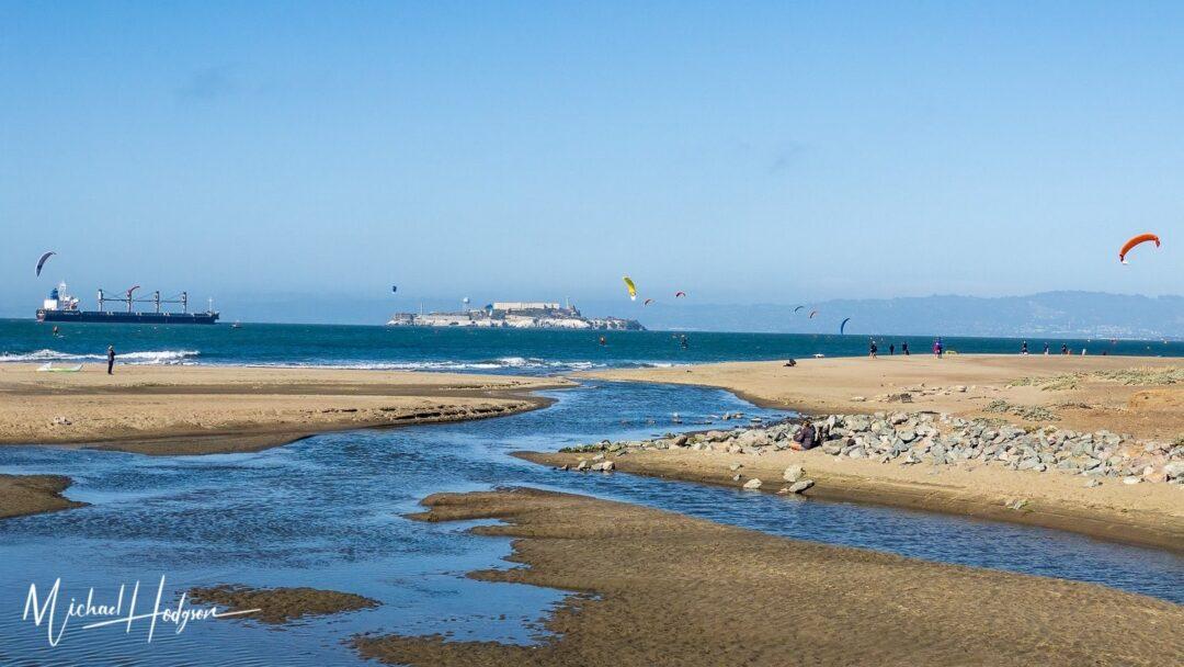 San Francisco Waterfront Beach Kite Sailing Alcatraz