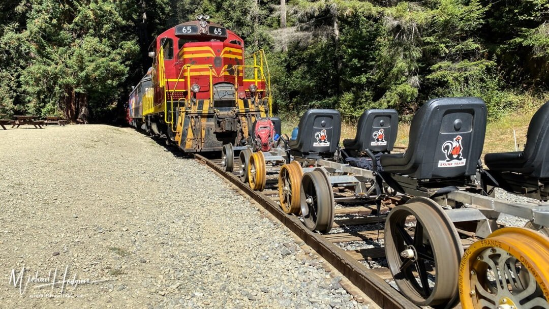Skunk Train Meets Railbikes At The Glen Blair Junction