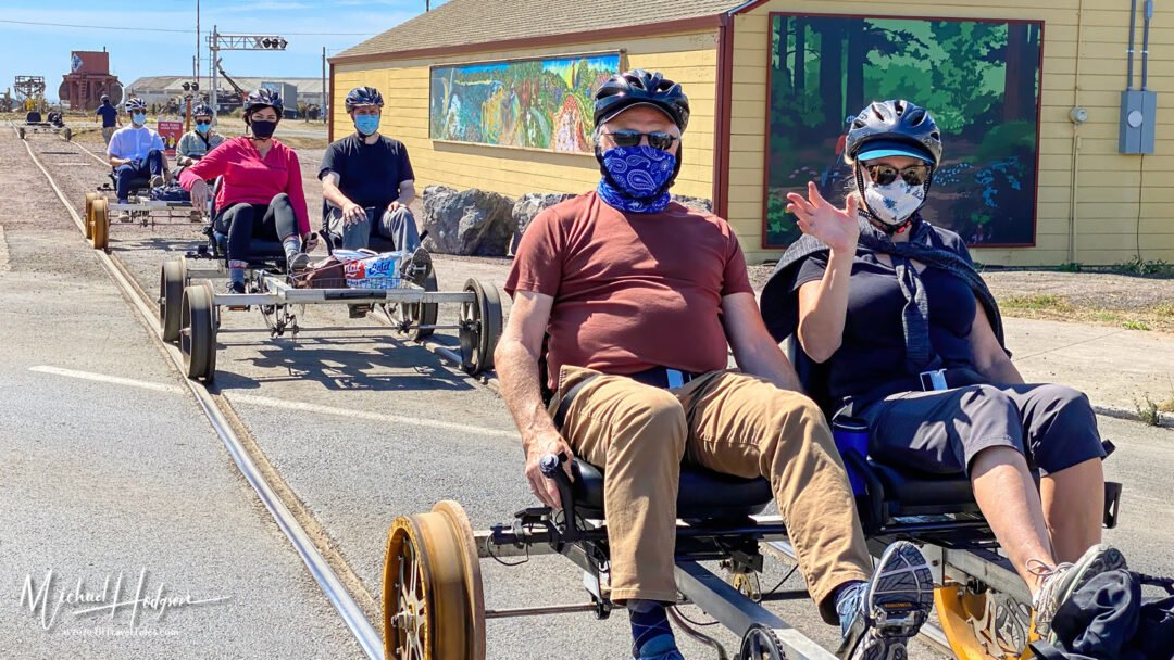 Skunk Train Railbikes Head Out From The Depot In Fort Bragg