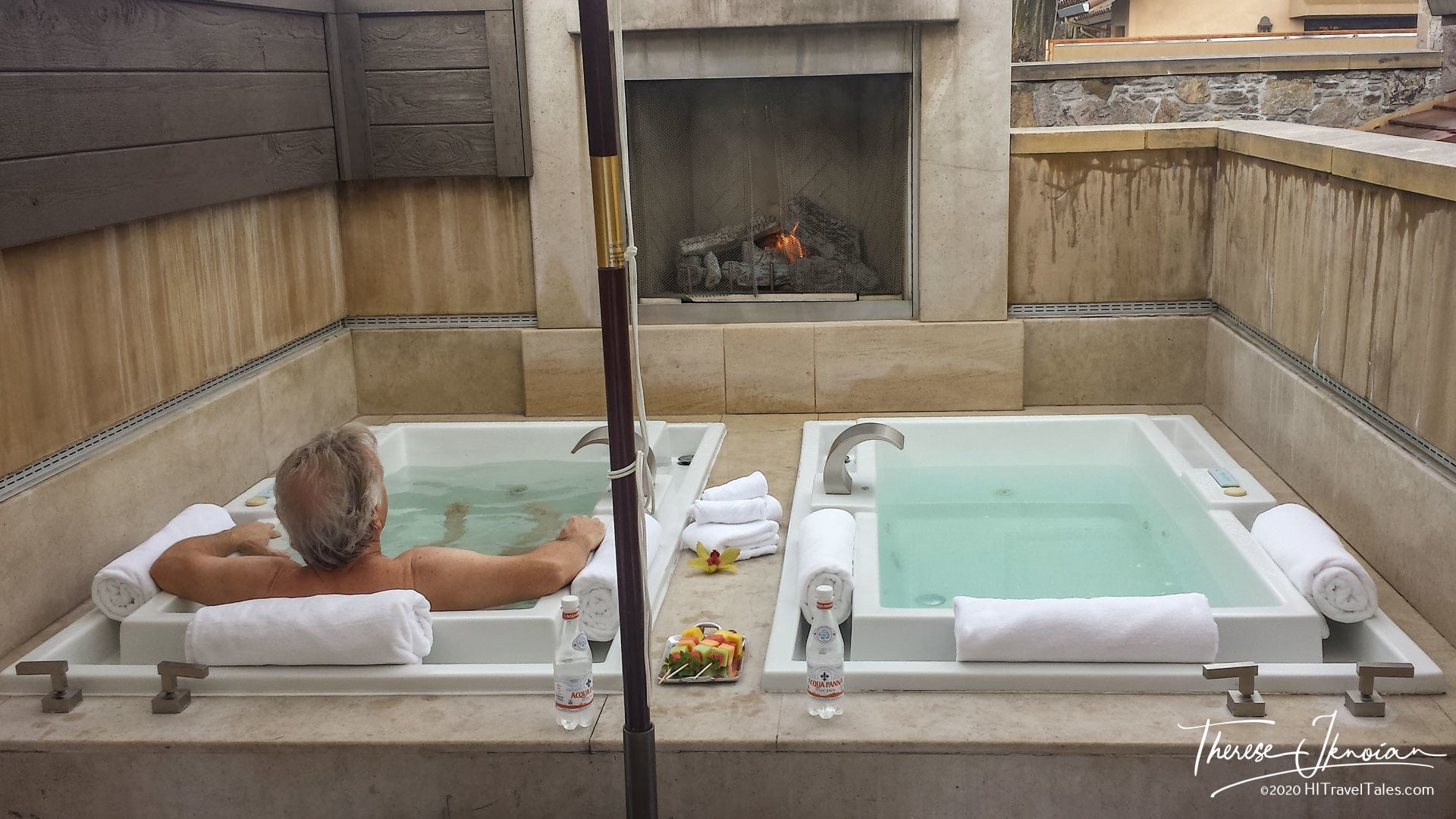 Soaking In The Outdoor Tubs In Front Of The Outdoor Fireplace At