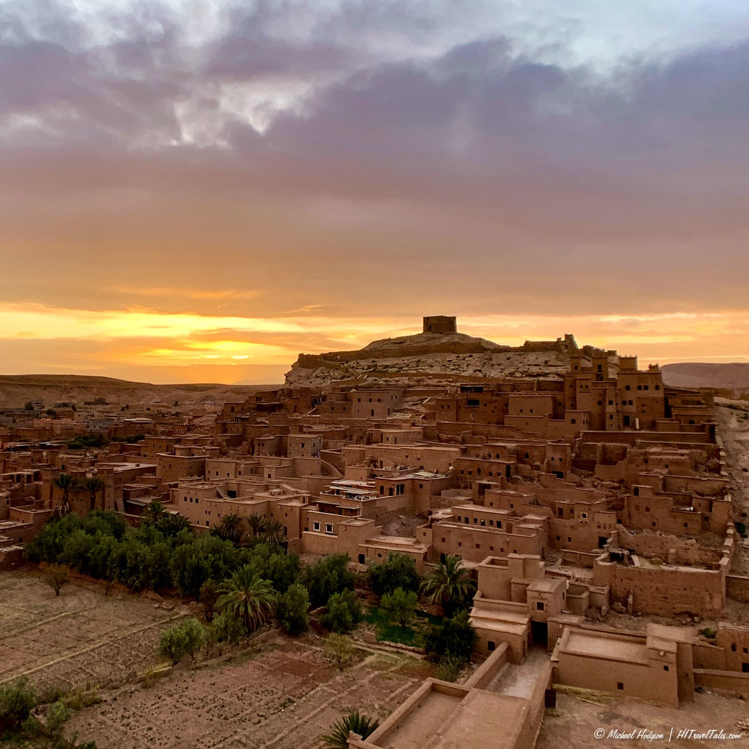 Sunset over Ait Ben Haddou in Morocco