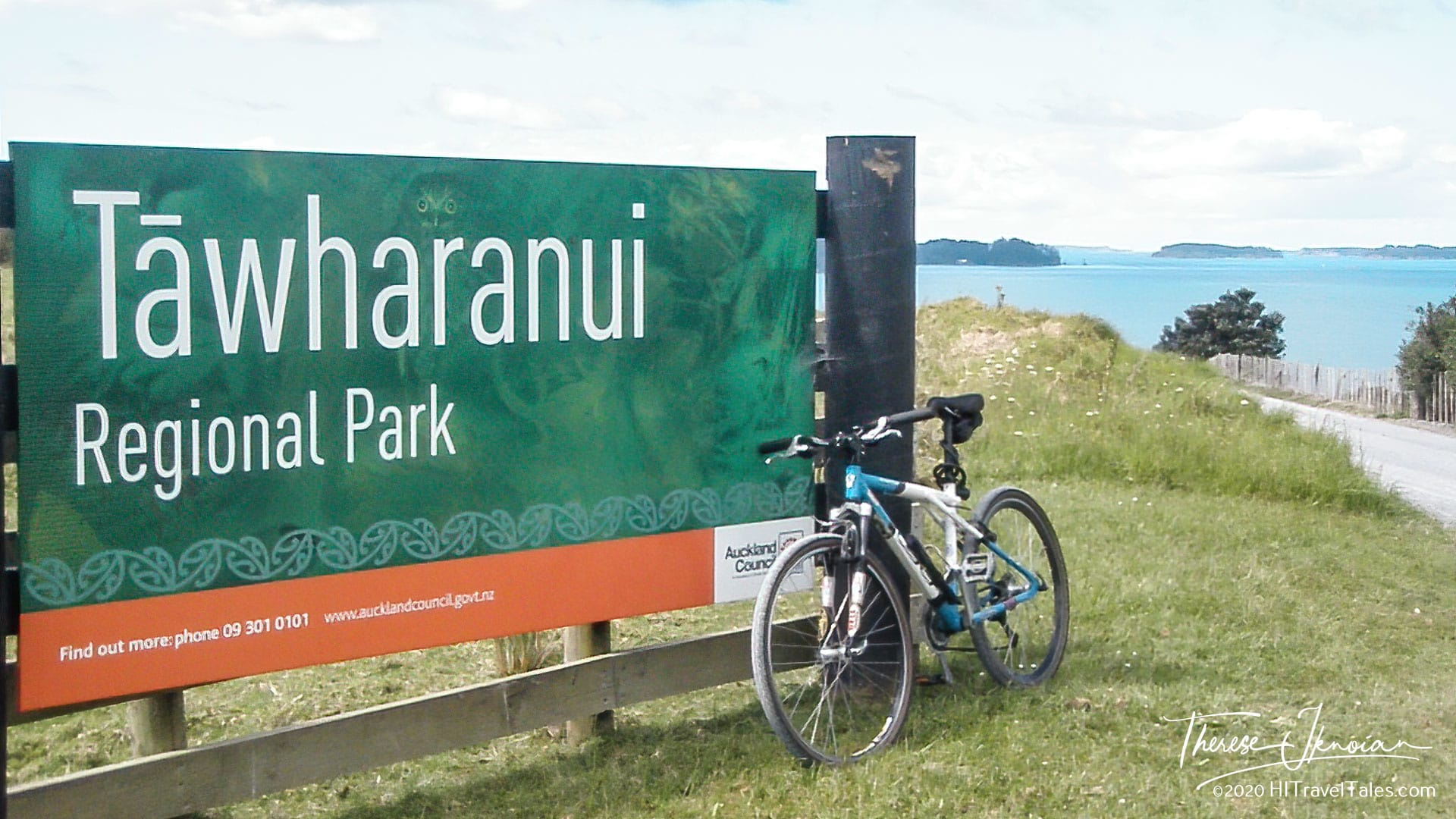 Tawharanui Regional Park Sign With Bike