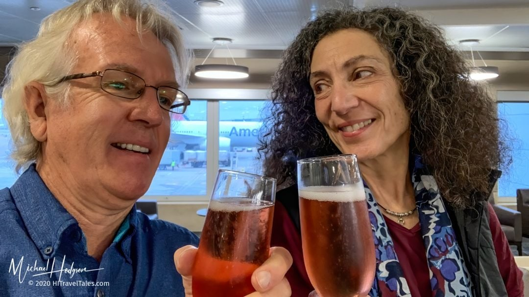 Therese And Michael Champagne Toast Heathrow Airport Goodbye Berlin