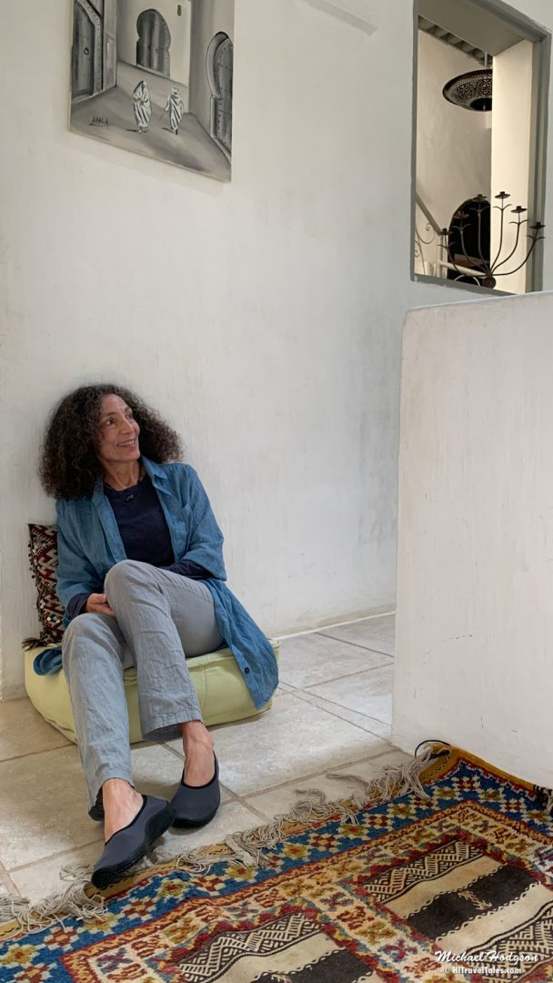 Therese Wearing Arcopedico Shoes In Morocco. Best shoes for travel when slip on comfort is needed.
