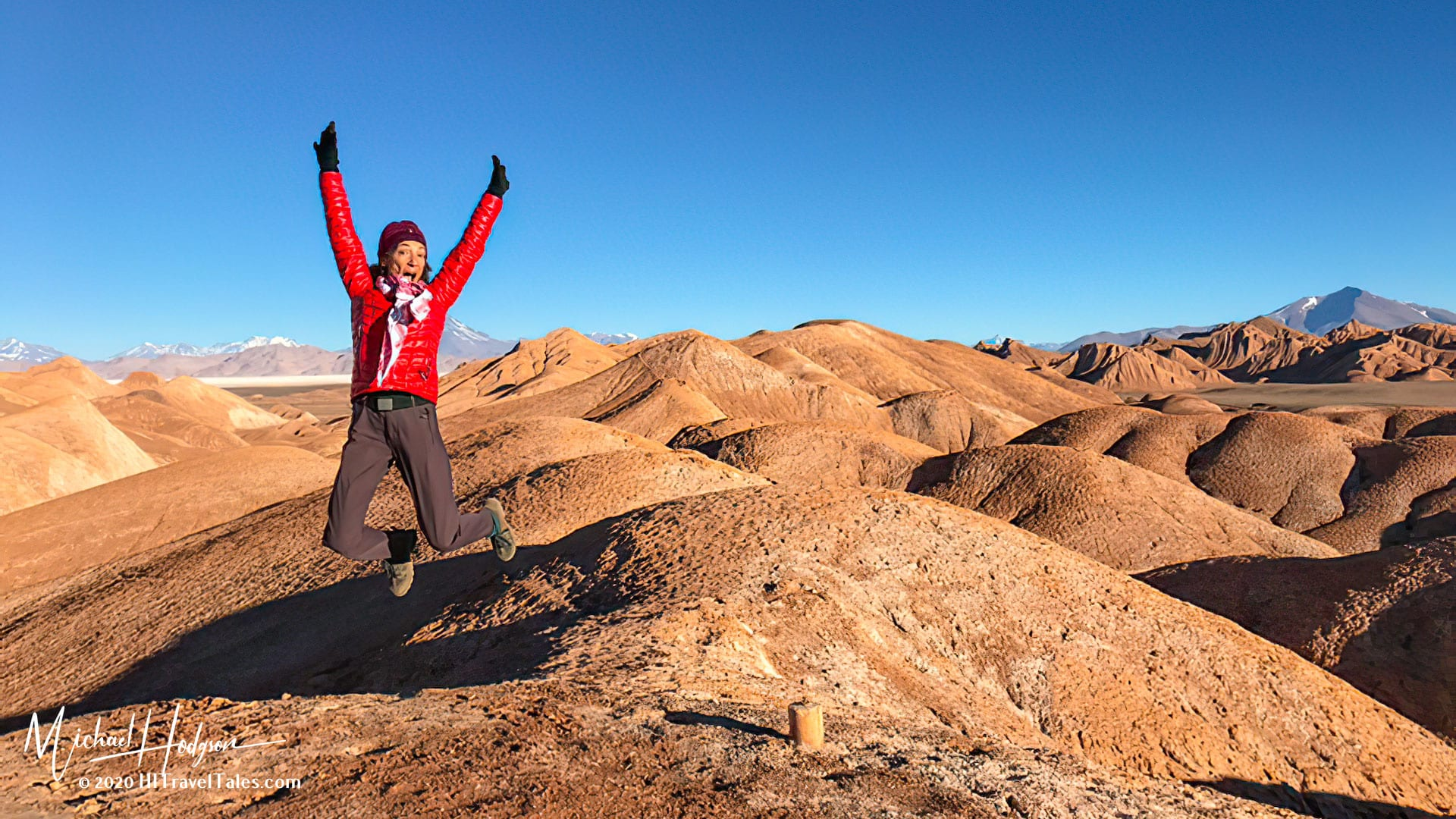 Therese Iknoian Jumping For Joy In The Puna High Plateau In Argentina