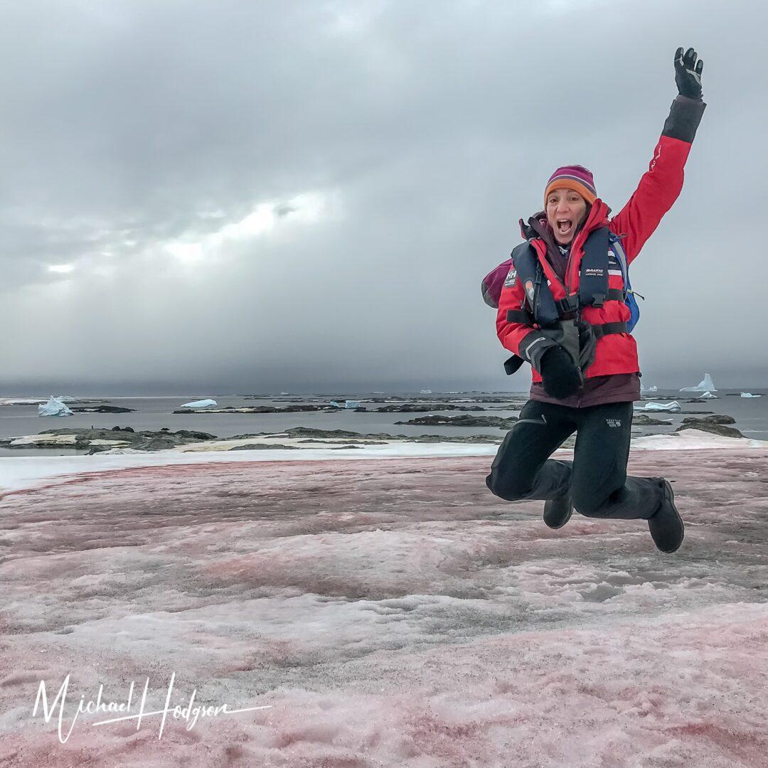 Therese Iknoian Jumpsta Wordie House Antarctica