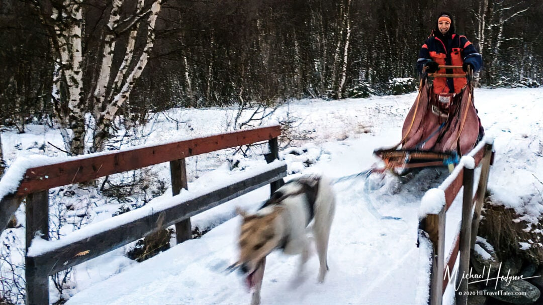 Therese Iknoian Flying Across A Bridge On A Dog Sled In Roros, Norway