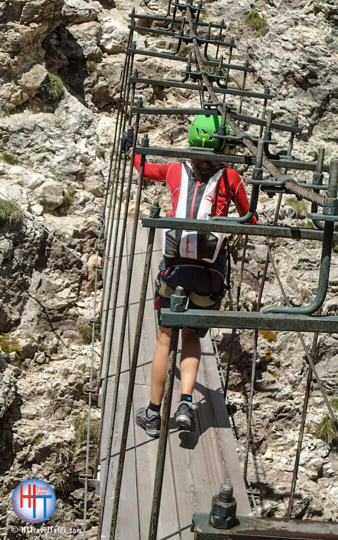 Therese Iknoian On The Via Ferrata Tridentina Swinging Bridge