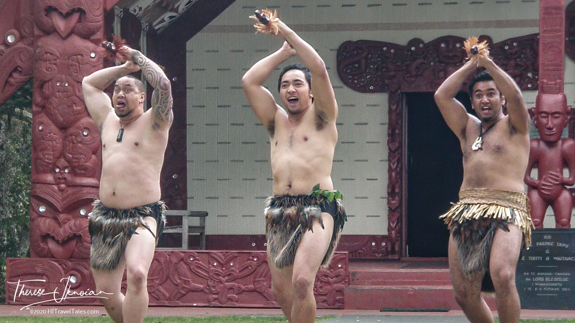 Three Warriors In Front Of Waitangi Treaty Grounds Meeting House