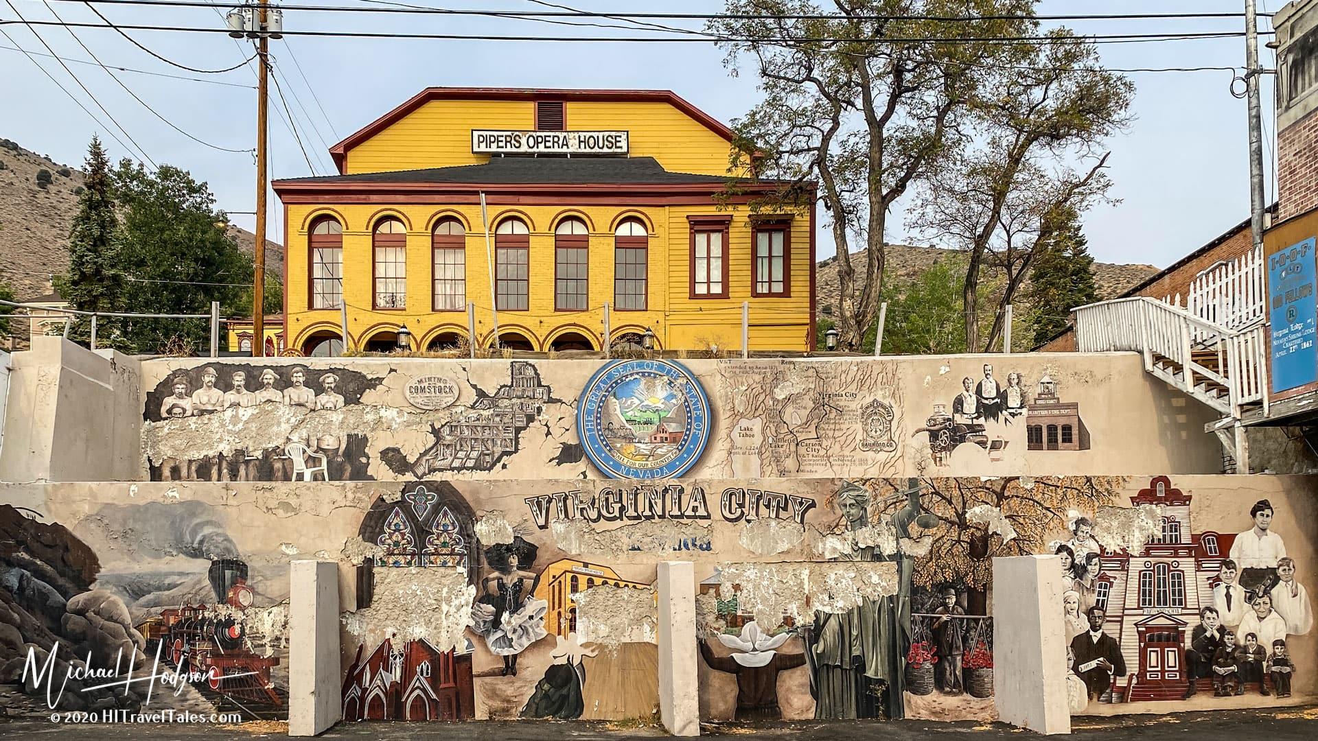 Virginia City Mural Below Pipers Opera House
