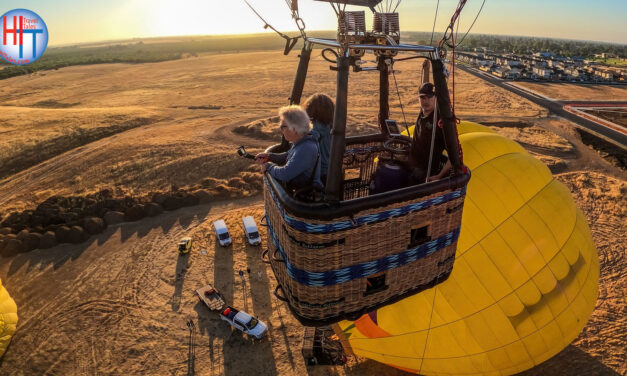 Floating in a hot air balloon with Yolo Ballooning Adventures